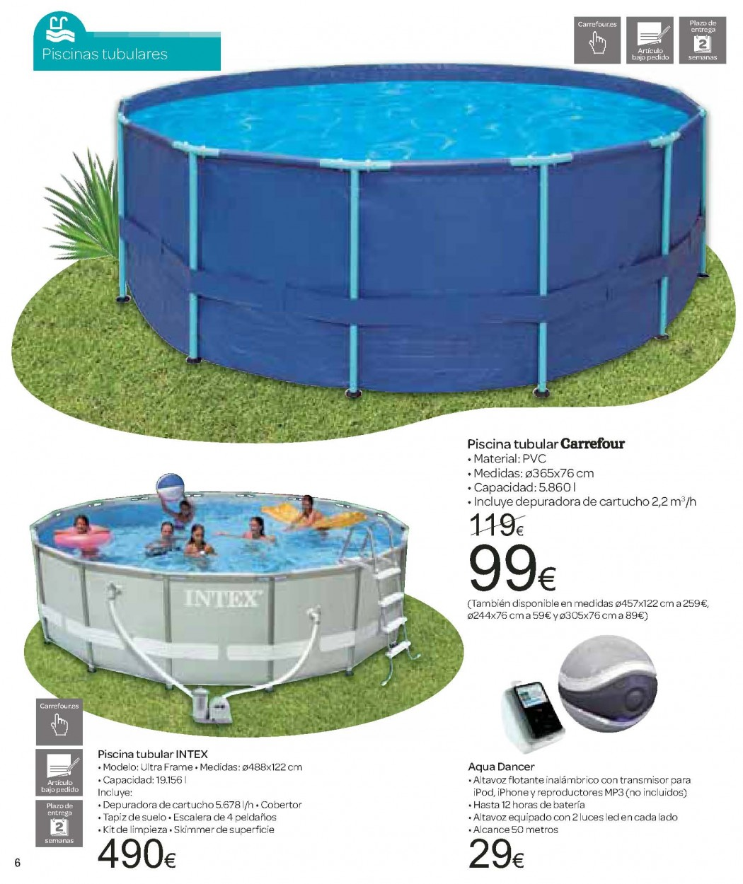 Catalogo carrefour junio 2012 especial piscinas y jardin for Piscinas hipercor catalogo